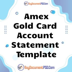 Buy Amex Account Statement Template