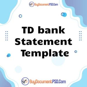 Buy TD bank Statement Template