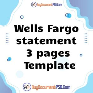 Buy Wells Fargo statement 3 pages Template