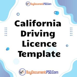Buy California Driving Licence Template