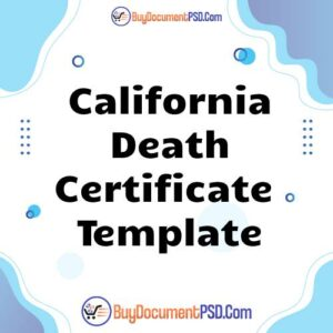 Buy California Death Certificate Template